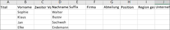 Beispiel für eine in Excel geöffnete Outlook-CSV-Datei