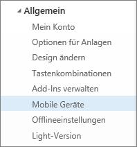 """""""Allgemein"""" > """"Mobile Geräte"""""""