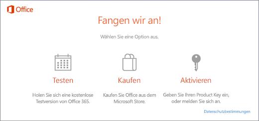 Screenshot mit den Standardoptionen zum Testen, Kaufen oder Aktivieren für einen PC, auf dem Office vorinstalliert ist.