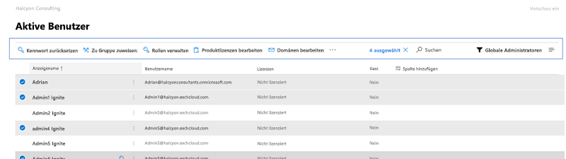Bildschirmaufnahme: Microsoft 365 Preview Active Users-Befehlsleiste.