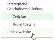 'Projektwebsite' in der Schnellstartleiste
