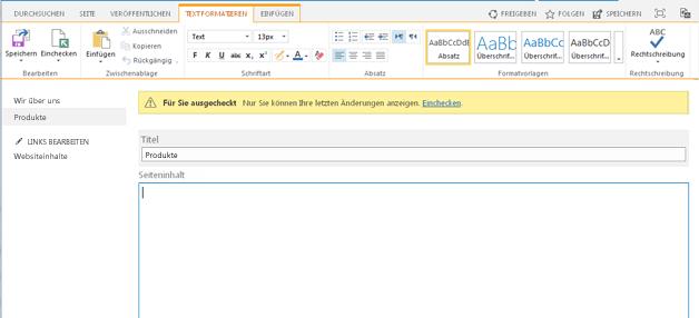 Screenshot einer neuen Veröffenlichungsseite mit gelbem Balken, der anzeigt, dass diese Seite ausgecheckt ist