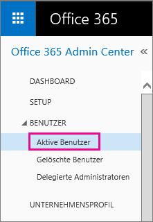 "Screenshot des Menüs ""Benutzer"" mit hervorgehobenem ""Aktive Benutzer"""