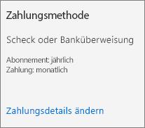 """Screenshot des Abschnitts """"Zahlungsmethode"""" einer Abonnementkarte für ein per Rechnung bezahltes Abonnement."""