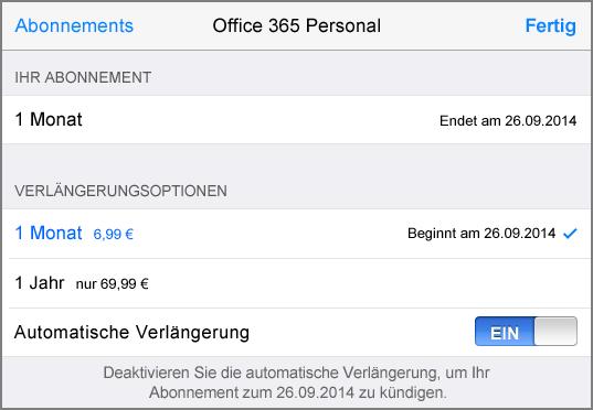 Abonnementoptionen für App Store