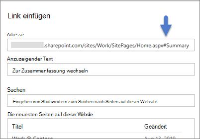 Beispiel für einen Link mit einer Textmarke