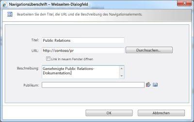 Dialogfeld 'Navigationsüberschrift'