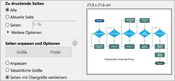 Dialogfeld zum Drucken einer PDF-Datei