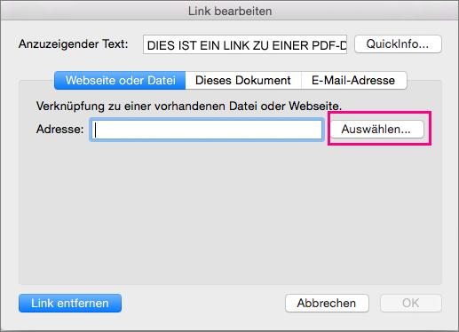 """Zeigt das Dialogfeld """"Link einfügen"""" in PowerPoint 2016 für Mac"""