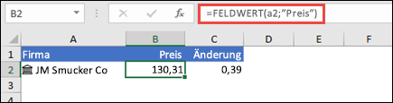 """Den Aktienkurs eines Unternehmens mit =FELDWERT(A2;""""Preis"""") abrufen"""