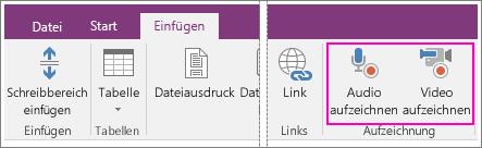 """Screenshot des Menüs """"Einfügen"""" mit AV-Schaltflächen in OneNote 2016"""