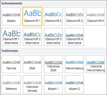 """Screenshot der Seitenelemente und Textformatvorlagen, die in der Gruppe """"Formatvorlagen"""" im SharePoint Online-Menüband zur Verfügung stehen."""
