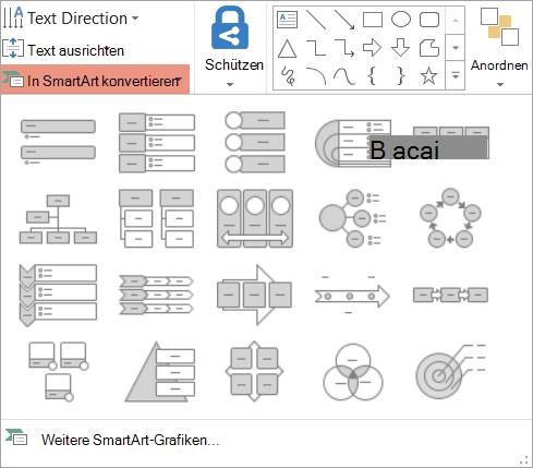 Zeigt die Optionen konvertieren SmartArt-Katalog