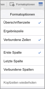 iPad: Tabellenformatoptionen