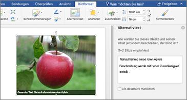 """Word-Dokument mit einem Bild und der Bereich """"Alternativtext"""" auf der rechten Seite"""