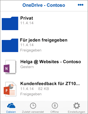 Screenshot von Dateien in der OneDrive for Business-App