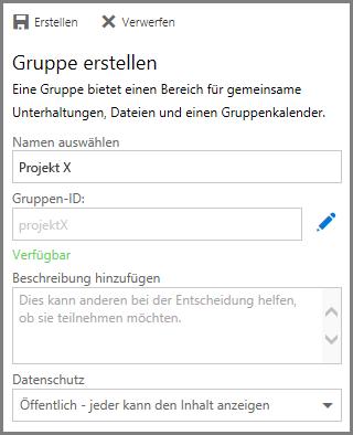 """Screenshot: Eingeben eines Namens und Klicken auf """"Erstellen"""" zum Erstellen einer Gruppe aus OneDrive for Business."""