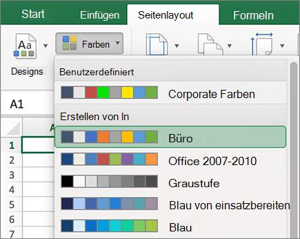 Benutzerdefinierte Farben und integrierte Farben