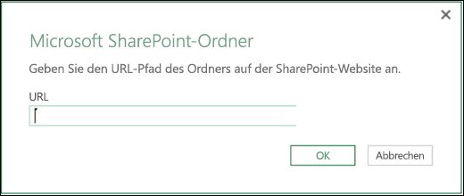Excel Power BI-Dialogfeld für SharePoint-Ordner-Connector