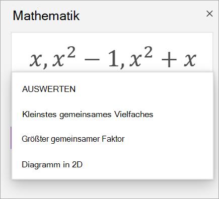 Liste der Arrays im Mathematischen Assistenten