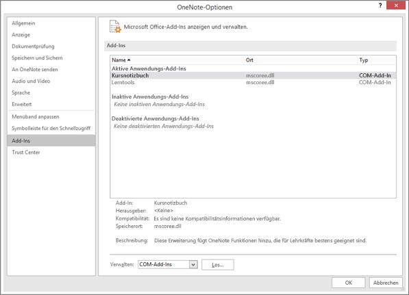"""Fensterbereich zum Verwalten von Office-Add-Ins, wobei """"Kursnotizbuch"""" ausgewählt ist. Abschnitt zum Verwalten von COM-Add-Ins mit Schaltfläche """"Gehe zu""""."""