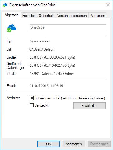 OneDrive-Eigenschaften