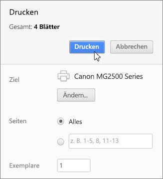 """Auf """"Drucken"""" klicken"""