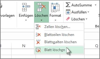 Einfügen oder Löschen eines Arbeitsblatts - Excel