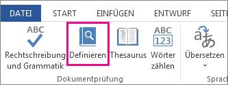Bild des Befehls 'Definieren' auf der Registerkarte 'Überprüfen'