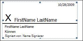 Signaturzeile mit Signatur