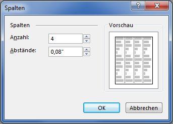 """Screenshot von """"Textfeldtools"""" > """"Weitere Spalten"""" in Publisher"""
