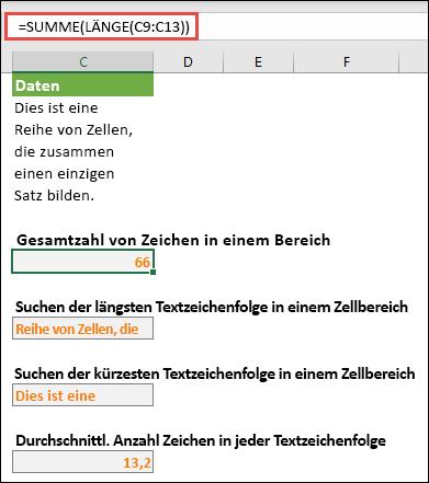 Zählen der Gesamtzahl der Zeichen in einem Bereich und anderer Matrizen für die Arbeit mit Textzeichenfolgen