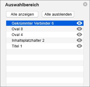 Zeigt den Auswahlbereich in PowerPoint 2016 für Mac