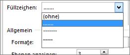 Ändern Sie das Füllzeichen im Inhaltsverzeichnis in Striche oder Punkte ein.