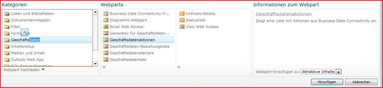 In der Webpart-Auswahl wird das Excel Web Access-Webpart angezeigt