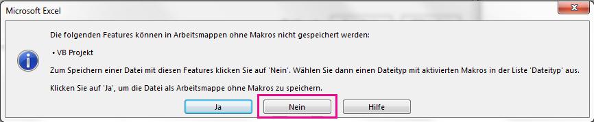 """Klicken Sie im Dialogfeld """"VB-Projekt"""" auf """"Nein""""."""