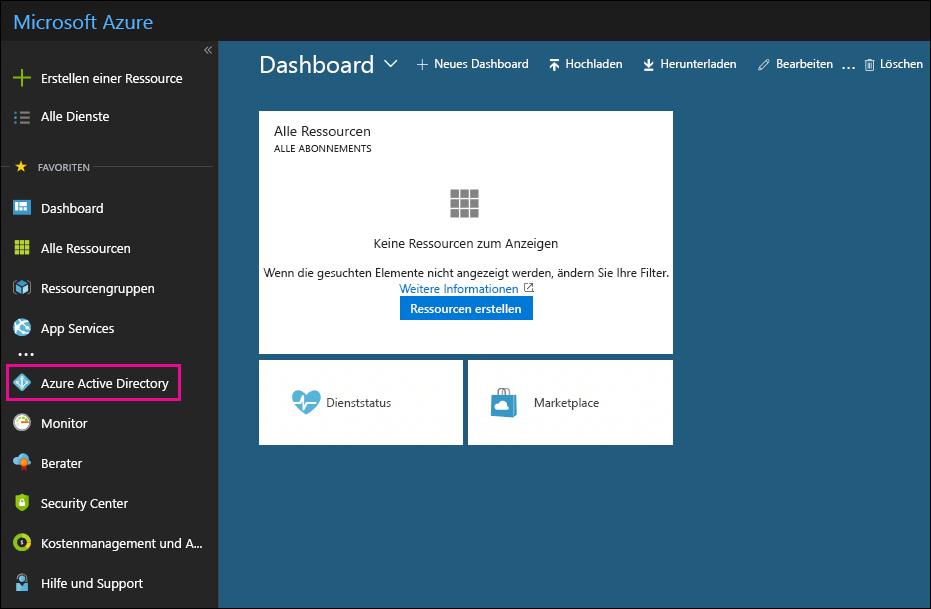 """Klicken Sie im Azure-Portal im linken Navigationsbereich auf """"Azure Active Directory""""."""