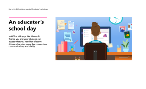 Abbildung einer Person an einem Schreibtisch, vor einem Computer