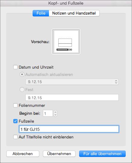 """Kontrollkästchen """"Fußzeile"""" auf der Registerkarte """"Folie"""" im Feld """"Kopf- und Fußzeile"""""""