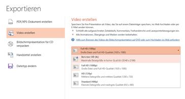 """Screenshot des Dialogfelds """"Exportieren"""" mit den verfügbaren Optionen beim Erstellen eines Videos basierend auf einer Präsentation"""