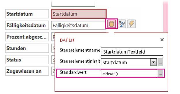 Festlegen des Standardwerts für ein Datumsfeld in einer Access-App