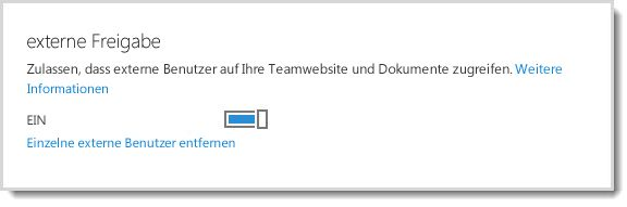 Abbildung des umschaltbaren Steuerelements (Ein/Aus), mit dem externen Benutzern der Zugriff auf Ihre Teamwebsite und Dokumente gewährt wird.