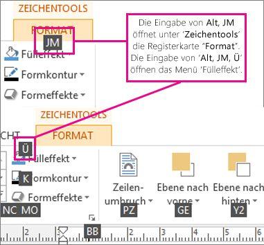 Neue Tastenkombinationen, Verwenden von Doppelbuchstaben, Öffnen der Registerkarte 'Zeichentools'