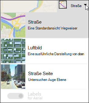 Bing Map-Webpart, Kartentyp
