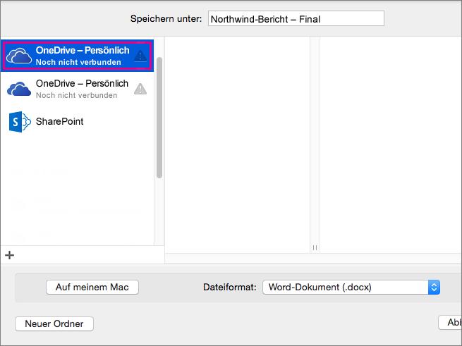 """Zum Speichern Ihres Dokuments auf OneDrive oder einem anderen Onlinespeicherort klicken Sie auf """"Onlinespeicherorte""""."""