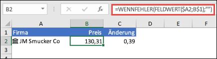 """Den Aktienkurs eines Unternehmens abrufen und Fehler mit =WENNFEHLER(FELDWERT($A2;B$1);"""""""") ignorieren"""