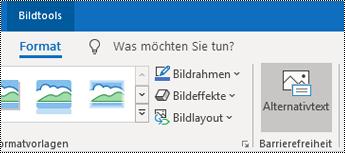 """Schaltfläche """"Alternativtext"""" im Menüband von Outlook für Windows"""