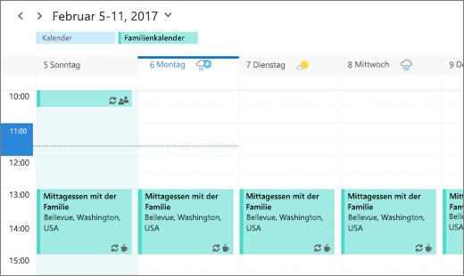 Screenshot des Outlook-Kalenders mit einem freigegebenen Familienereignis