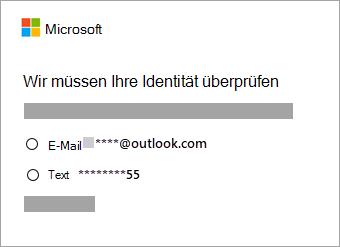 Screenshot der Optionen zum Überprüfen der Identität