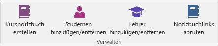 """Gruppe """"Verwalten"""" der Registerkarte """"Kursnotizbuch""""."""